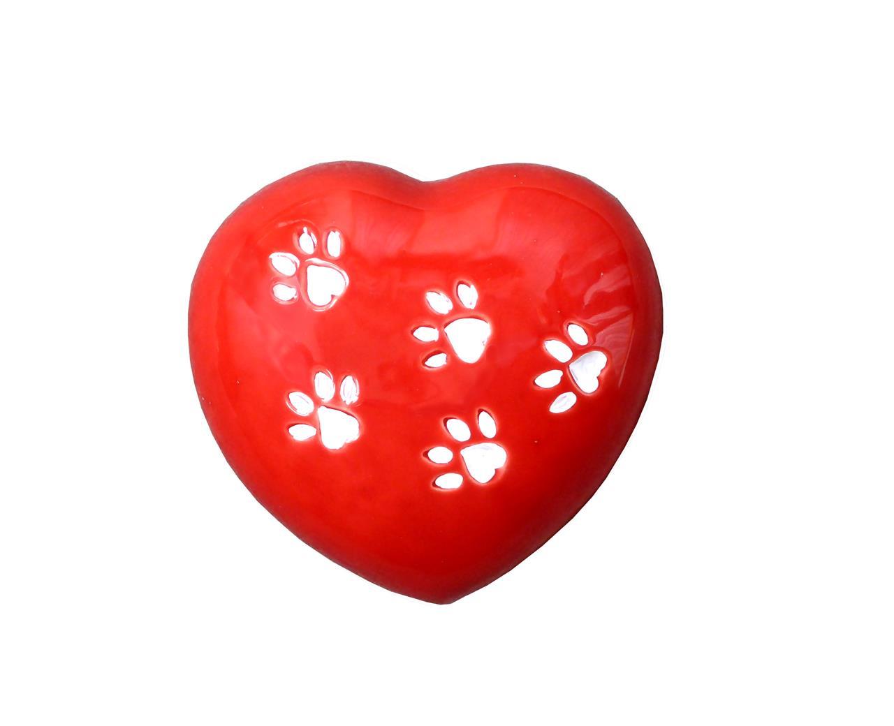 Urna cuore rosso animali - Bertoncello Graziano